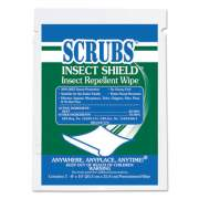 SCRUBS Insect Shield Insect Repellent Wipes, 8 x 10, White, 100/Carton (91401)