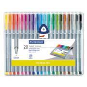 Staedtler Triplus Fineliner Stick Porous Point Pen, Extra-Fine Needle Tip, 0.3mm, Assorted Ink, Silver Barrel, 20/Set (334SB20A6)