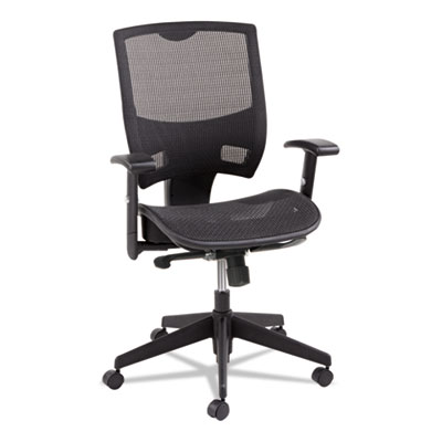 Alera Epoch Series Suspension Mesh Multifunction Chair, Supports up to 275 lbs., Black Seat/Black Back, Black Base (ALEEP4218)