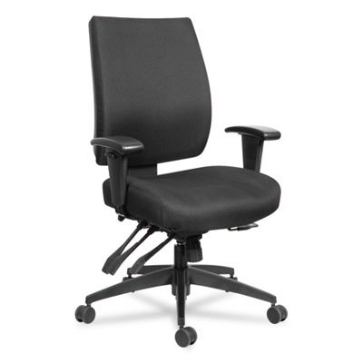 Alera Wrigley Series 24/7 High Performance Mid-Back Multifunction Task Chair, Up to 300 lbs., Black Seat/Back, Black Base (ALEHPT4201)