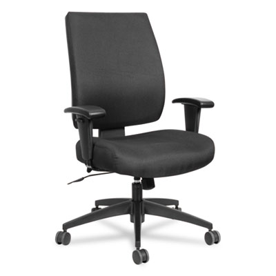 Alera Wrigley Series High Performance Mid-Back Synchro-Tilt Task Chair, Supports up to 275 lbs., Black Seat/Back, Black Base (ALEHPS4201)