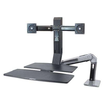 Ergotron WorkFit-A Sit-Stand Workstation with Worksurface+,Dual LCD Monitors, Aluminum/Black (24316026)