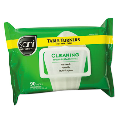 Sani Professional Multi-Surface Cleaning Wipes, 11 1/2 x 7, White, 90 Wipes/Pack, 12 Packs/Carton (A580FW)