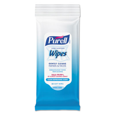 PURELL Hand Sanitizing Wipes, 7 x 6, Alcohol Free, Fresh Scent, 20/Pack, 28/Carton (912428CMRCT)