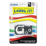 "Casio Label Printer Iron-On Transfer Tape, 0.75"" x 26 ft, Black on White (XR118BKS)"