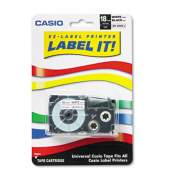 """Casio Tape Cassette for KL Label Makers, 0.75"""" x 26 ft, Black on White (XR18WES)"""