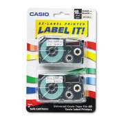 """Casio Tape Cassettes for KL Label Makers, 0.75"""" x 26 ft, Black on Clear, 2/Pack (XR18X2S)"""