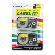 """Casio Tape Cassettes for KL Label Makers, 0.75"""" x 26 ft, Black on Yellow, 2/Pack (XR18YW2S)"""