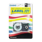 """Casio Tape Cassette for KL8000/KL8100/KL8200 Label Makers, 1"""" x 26 ft, Black on White (XR24WE)"""