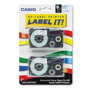 """Casio Tape Cassettes for KL Label Makers, 0.37"""" x 26 ft, Blue on White, 2/Pack (XR9WEB2S)"""
