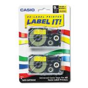 """Casio Tape Cassettes for KL Label Makers, 0.37"""" x 26 ft, Black on Yellow, 2/Pack (XR9YW2S)"""