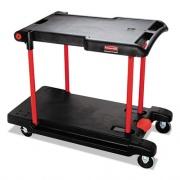 Rubbermaid Commercial Convertible Utility Cart, Two-Shelf, 23.88w x 45.13d x 34.38h, Black (430000BK)