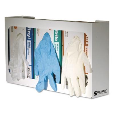 San Jamar White Enamel Disposable Glove Dispenser, Three-Box, 18w x 3 3/4d x 10h (G0804)