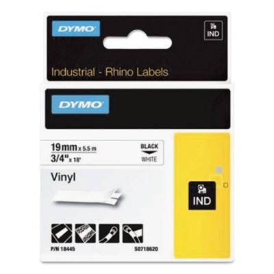 "DYMO Rhino Permanent Vinyl Industrial Label Tape, 0.75"" x 18 ft, White/Black Print (18445)"