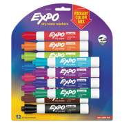 EXPO Low Odor Dry Erase Vibrant Color Markers, Broad Chisel Tip, Assorted Colors, 12/Set (1927525)