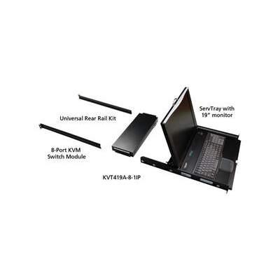 "Black Box Kvm Lcd Try Ip Swt 19"" 1rl Vga Usb 8p (KVT419A-8-1IP)"
