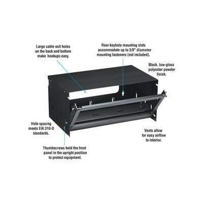 """Black Box Cab Wlmt 6u 20""""w X 12""""d 10-32 Tap 50lb (RM686)"""