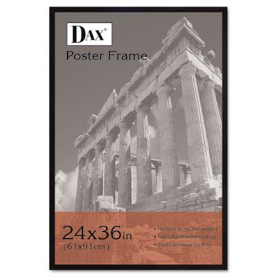 DAX Flat Face Wood Poster Frame, Clear Plastic Window, 24 x 36, Black Border (286036X)