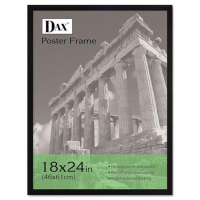 DAX Flat Face Wood Poster Frame, Clear Plastic Window, 18 x 24, Black Border (2860W2X)