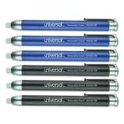 Universal Pen-Style Retractable Eraser, White Thermo-Plastic Rubber Eraser, Assorted Barrel Colors, 6/Pack (UNV55106)