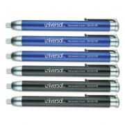 Universal Pen-Style Retractable Eraser, For Pencil Marks, White Eraser, Assorted Barrel Colors, 6/Pack (55106)