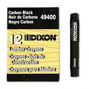 Dixon Lumber Crayons, 4 1/2 x 1/2, Carbon Black, Dozen (49400)