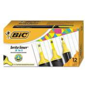 BIC Brite Liner 3 'n 1 Highlighters, 3 'n 1 Chisel Tip, Yellow, Dozen (BL311-YEL)