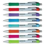 Universal Comfort Grip Retractable Gel Pen, 0.7mm, Assorted Ink, Silver Barrel, 8/Set (39725)