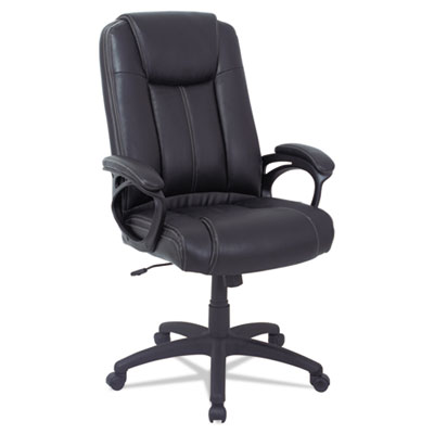 Alera CC Series Executive High Back Leather Chair, Supports up to 275 lbs., Black Seat/Black Back, Black Base (ALECC4119F)