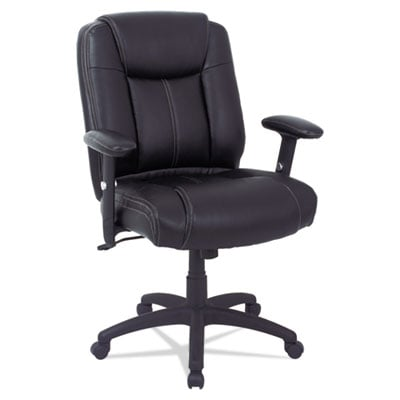 Alera CC Series Executive Mid-Back Leather Chair with Adjustable Arms, Supports up to 275 lbs., Black Seat/Back, Black Base (ALECC4219)