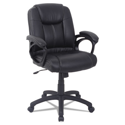 Alera CC Series Executive Mid-Back Leather Chair, Supports up to 275 lbs., Black Seat/Black Back, Black Base (ALECC4219F)