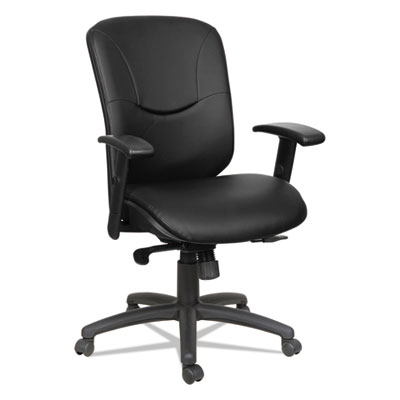 Alera Eon Series Mid-Back Leather Synchro with Seat Slide Chair, Supports up to 275 lbs., Black Seat/Black Back, Black Base (ALEEN4219)