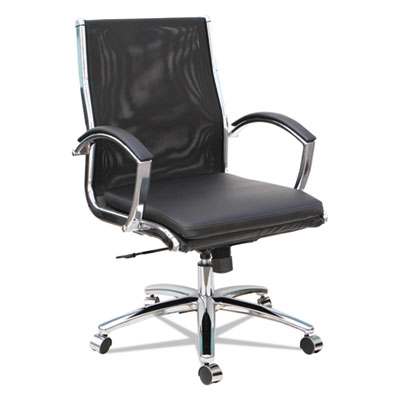 Alera Neratoli Mid-Back Slim Profile Chair, Supports up to 275 lbs., Black Seat/Black Back, Chrome Base (ALENR4218)