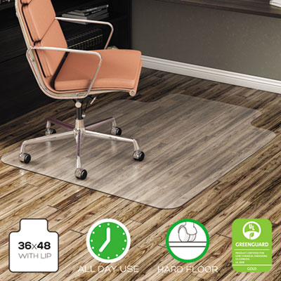 deflecto EconoMat All Day Use Chair Mat for Hard, Lip, 36 x 48, Low Pile, Smooth, Clear (CM21112COM)