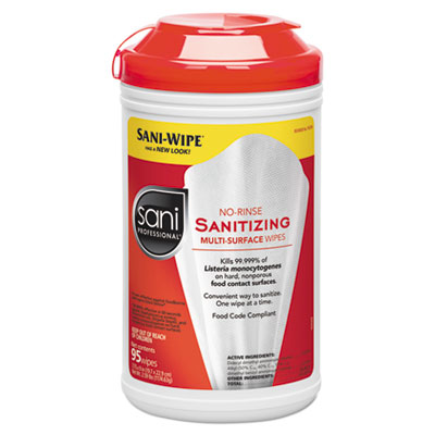 Sani Professional No-Rinse Sanitizing Multi-Surface Wipes, White, 95/Container, 6/Carton (P56784)