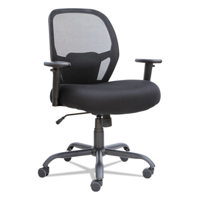 Alera Merix450 Series Mesh Big and Tall Chair, Supports up to 450 lbs., Black Seat/Black Back, Black Base (ALEMX4517)