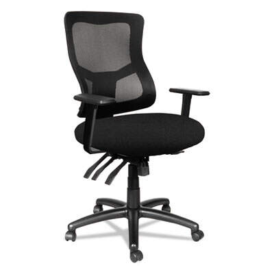 Alera Elusion II Series Mesh Mid-Back Multi-Function with Seat Slide Chair, Supports up to 275 lbs, Black Seat/Back/Base (ALEELT4214M)