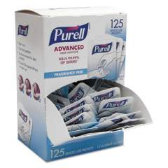 PURELL Single Use Advanced Gel Hand Sanitizer, 1.2 mL, Packet, Clear, 125/Box (9630125NSBX)