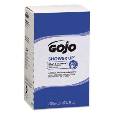 GOJO SHOWER UP Soap and Shampoo, Pleasant Scent, 2,000 mL Refill, 4/Carton (7230)