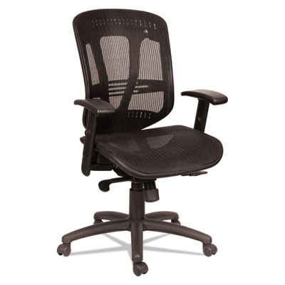 Alera Eon Series Multifunction Mid-Back Suspension Mesh Chair, Supports up to 275 lbs., Black Seat/Black Back, Black Base (ALEEN4218)