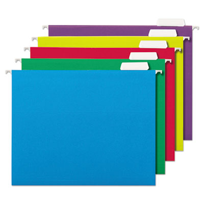 Universal Deluxe Bright Color Hanging File Folders, Letter Size, 1/5-Cut Tab, Assorted, 25/Box (UNV14121EE)