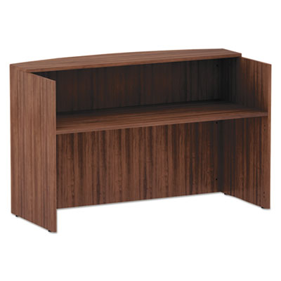 Alera Valencia Series Reception Desk with Counter, 71w x 35.5d x 42.5h, Modern Walnut (VA327236WA)