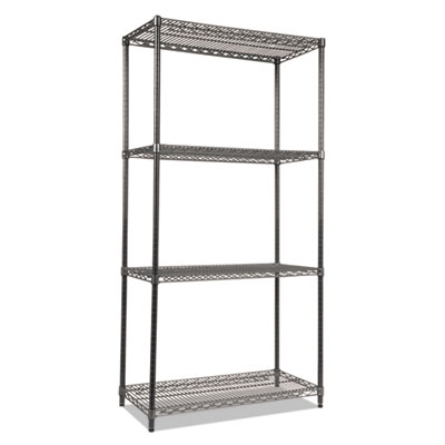 Alera Wire Shelving Starter Kit, Four-Shelf, 36w x 18d x 72h, Black Anthracite (ALESW503618BA)