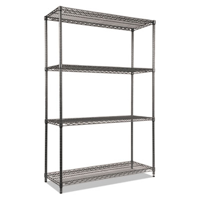 Alera Wire Shelving Starter Kit, Four-Shelf, 48w x 18d x 72h, Black Anthracite (ALESW504818BA)