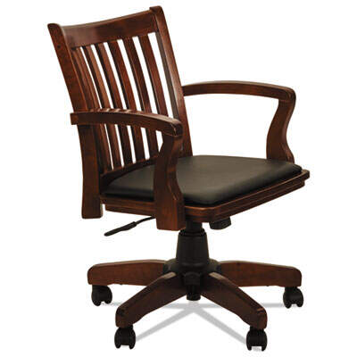 Alera Postal Series Slat-Back Wood/Leather Chair, Supports up to 275 lbs., Cherry Seat/Black Back, Cherry Base (ALEPC4299C)