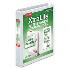 "Cardinal XtraLife ClearVue Non-Stick Locking Slant-D Ring Binder, 3 Rings, 1"" Capacity, 11 x 8.5, White (26300)"