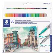 Staedtler Double Ended Markers, Assorted Bullet Tips, Assorted Colors, 36/Pack (3200TB36)