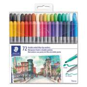Staedtler Double Ended Markers, Assorted Bullet Tips, Assorted Colors, 72/Pack (3200TB7202)