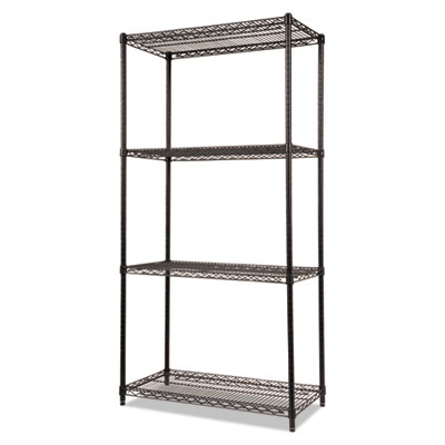 Alera NSF Certified Industrial 4-Shelf Wire Shelving Kit, 36w x 18d x 72h, Black (ALESW503618BL)