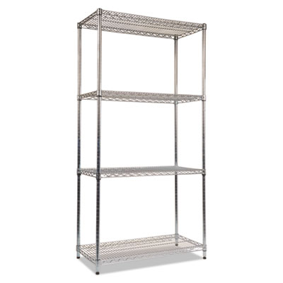 Alera NSF Certified Industrial 4-Shelf Wire Shelving Kit, 36w x 18d x 72h, Silver (ALESW503618SR)
